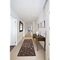 Ottomanson Ottohome Collection Contemporary Leaves Design Non-Skid Rubber Backing Modern Hallway Runner Rug, 27 X 910, Chocolate Brown