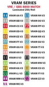 VRE/GBS Alphabetic Labels - 8850 Series (Rolls) A-Z Set with Tray