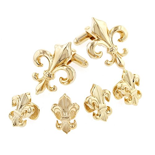 Mardi Gras Gold Plated Large Fleur de lis Tuxedo Studs and Cufflinks Set