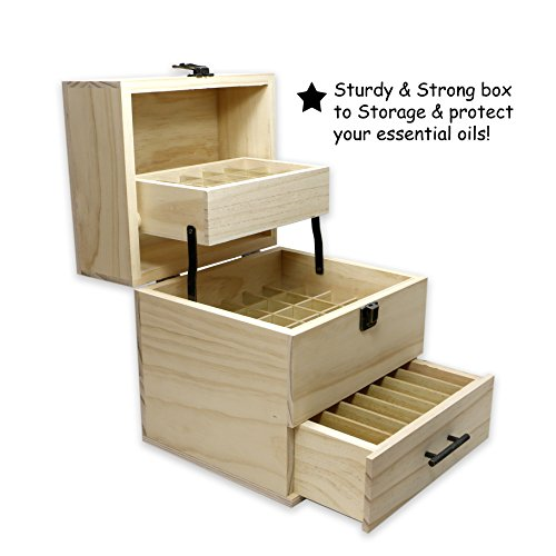SXC Essential Oil Wooden Box Multi-Tray Organizer, 3 Tiers Storage Case Protects 45 5-15 mL Essential Oil Bottles and 14 10 mL Roller Bottles for Travel and Presentations by SXC (Image #4)