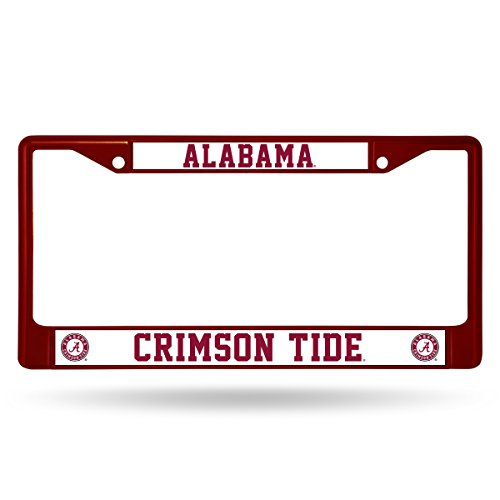 Rico Industries NCAA Alabama Crimson Tide Team Colored Chrome License Plate Frame, Maroon