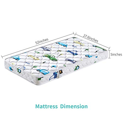 41UNRDwaGtL - 【2020 Kids' Favorites】 Bubble Bear Foam Crib Mattress And Toddler Mattress -Comfortable And Breathable & Solid Safety Edge & Size:52X27.6X5(Cute Car)