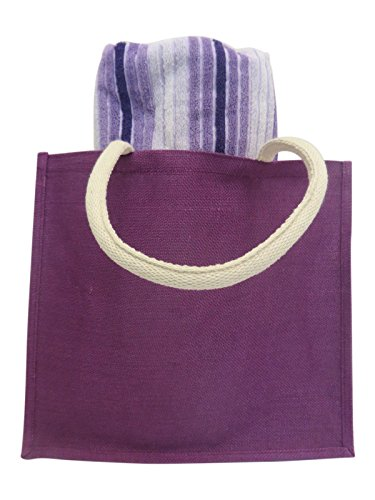 - Purple Burlap Beach Bag Large Tote with Striped Beach Towel Gift Set for Girls and Women 40 x 70