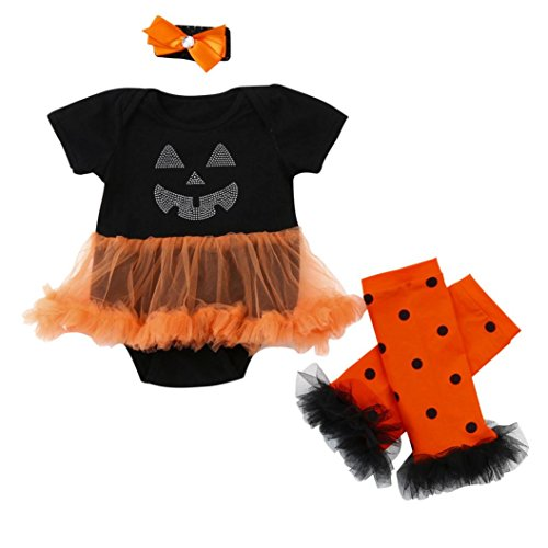 [Halloween Outfits for Baby Girls,WuyiMC 3 Pieces Newborn Costume Romper Tutu Dress Set (6-12 Months,90CM, Black)] (Snuggles Bear Halloween Costume)