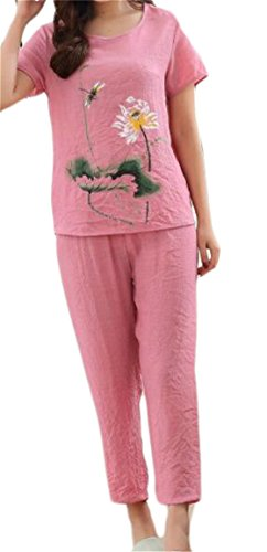 Linen Capri Set - SELX-Women Cotton Linen Pajamas Print Short Sleeve Pijamas Set Two US 3XL