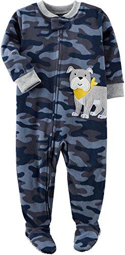 Blue Fleece Carters (Carter's Boys' 12M-8 Camo Dog Fleece Pajamas Blue 18 Months)