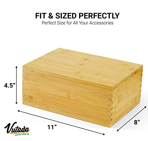 "VUTADA Wood Stash Box Large with Rolling Tray - Handmade Decorative Stash Box - 11"" x 8"" x 4.5"" Storage Box - Premium Quality Dovetail Design Discrete Wooden Stash Boxes (Large)"