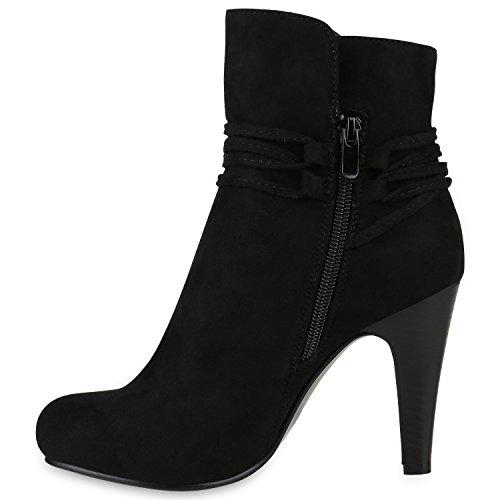 Stiefelparadies Klassische Damen Stiefeletten High Heels Stilettos Schleifen Flandell Schwarz