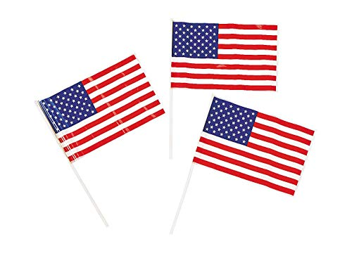 """Fun Express Patriotic Plastic American 6"""" x 4"""" Flags (72 Pack) 4th of July Independance Day"""