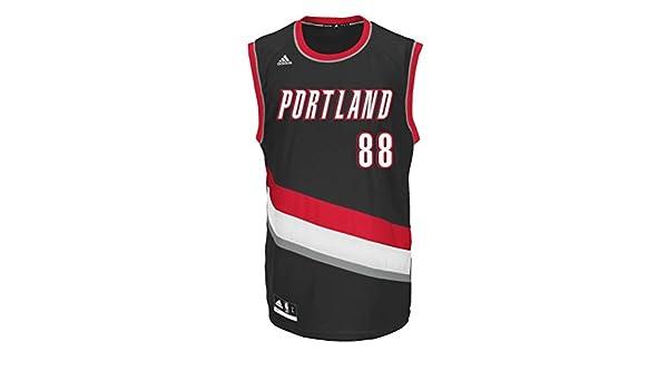 ADIDAS NBA portland official camiseta de baloncesto [negro] - Negro / Rojo / Blanco, Medium: Amazon.es: Deportes y aire libre