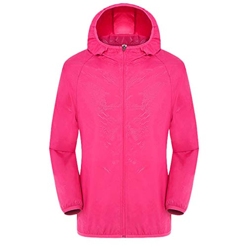 Funnygals Women's Men's Ultra-Lightweight Waterproof Rainproof Windbreaker Jackets Hoodie for Outdoor Hiking Climbing Hot Pink