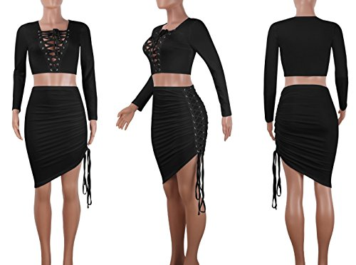 Piece Top Skirt Dress Crop Mini Black Bodycon Sexy Up Womens Two Outfit Lace Bluewolfsea n0wvHXq7