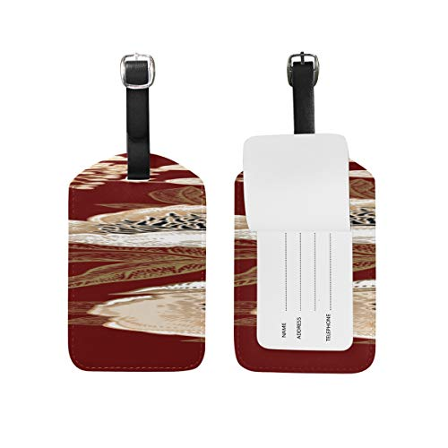 (Fashion Pu Leather Tags Dahlia White Vintage Hand Drawn Double-sided Printing Id Labels Luggage Tag Business Card Suitcase Tag )