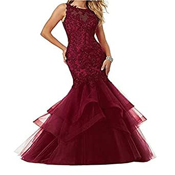 Sexy Mermaid Tulle Applique Evening Formal Party Ball Gown Prom Bridesmaid Dresses Custom Size 2 4 6 8 10 12 14 16 18 20 22 24 26
