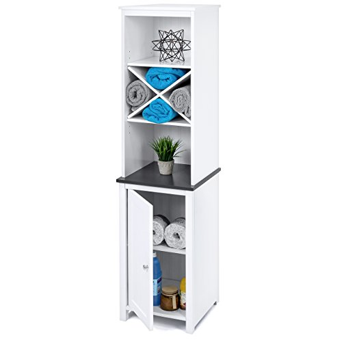 Best Choice Products Wooden Bathroom Space Saving Standing Tall Floor Tower Storage Cabinet Organizer w/Faux-Slate Adjustable Shelves - ()