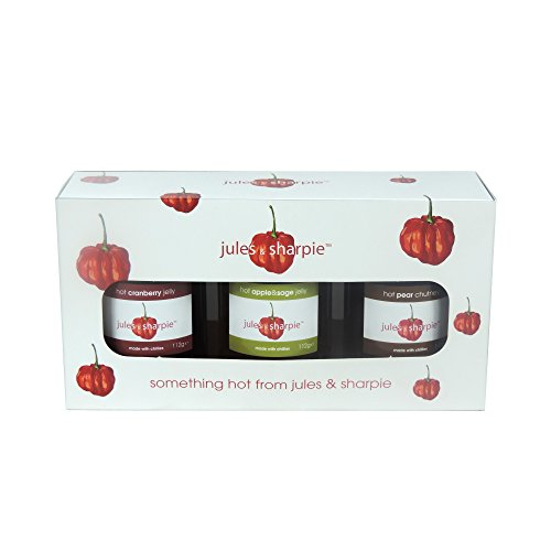 Jules & Sharpie - Hot Cranberry Jelly, Hot Apple & Sage Jelly & Hot Pear Chutney - 3 x 112g