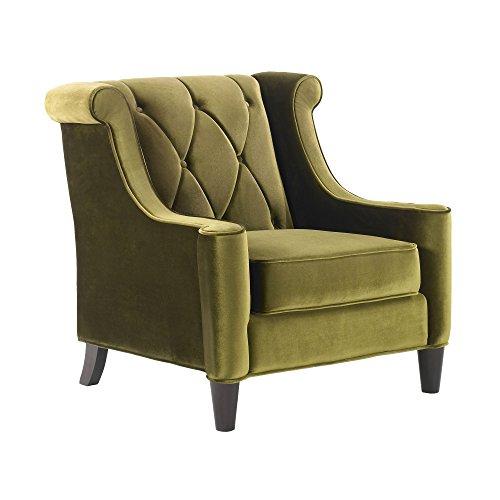 Armen Living LC8441GREEN Barrister Side Chair in Green Velvet and Black Wood Finish ()