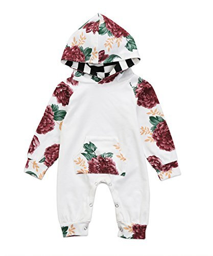 MaampBaby Baby Girls Jumpsuit Hoodie Romper Outfit Long Sleeve Creepers Bodysuit Clothes 06 Months Floral
