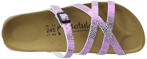 Betula Damen Stripes Cross Buckle Pantoletten Pink (BF Snake Metal Pink)