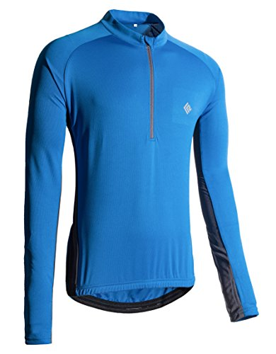 KORAMAN Mens Long Sleeve Cycling Jersey with Thumb Hole Quick Dry Bike Biking Shirts Blue 3XL ()