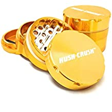 "Hush Crush 2"" 4-Piece Magnetized Tobacco Herb Grinder - Yellow Gold"
