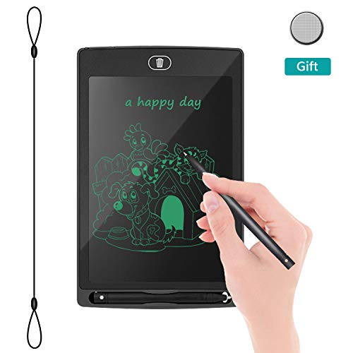 """LCD Writing Tablet Electronic Drawing Board - REOTECH 8.5"""" Jot Doodle Pad Handwriting Paper Memo Note Board for Kids and Adults at Home,School and Office (Black)"""