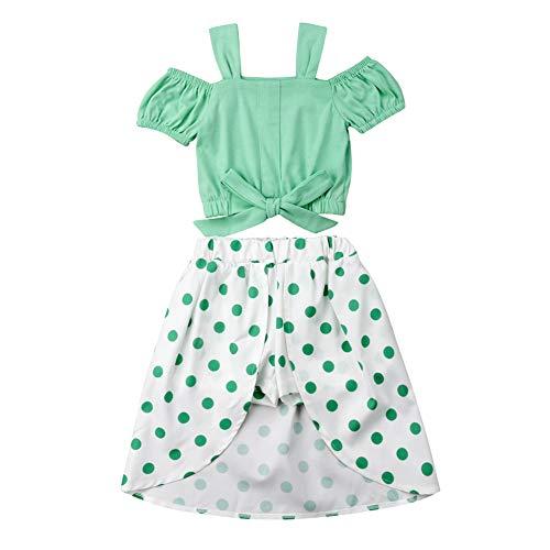 Little Girls Skirt Outfit Off-Shoulder Bow Strap Top and Polka Dot Irregular Pantskirt Set (Green, 4-5 Years) - Green Polka Dot Skirt