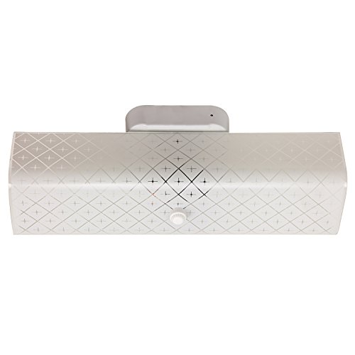 Sunlite B14 14-Inch 2-Bulb Rectangle Bathroom Wall Fixture, White Finish with Ornate White Glass