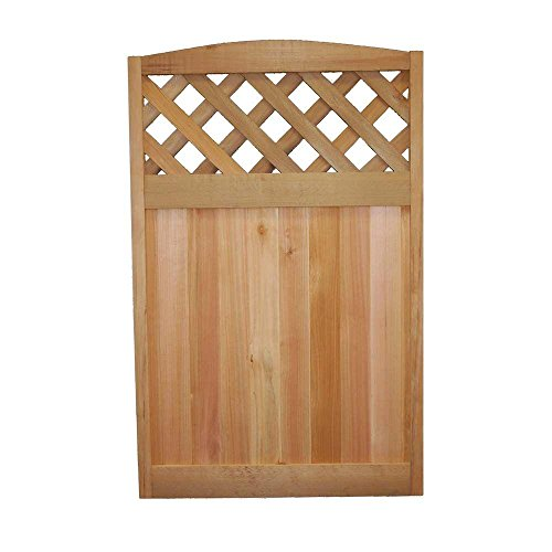 Western Red Cedar Finishes - Wood Fence Western Red Cedar Diagonal Lattice Deluxe Arched Fence Panel, Brown Finish