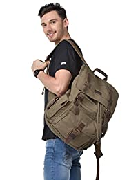 Kattee Vintage Canvas Leather Hiking Travel Backpack Army Green