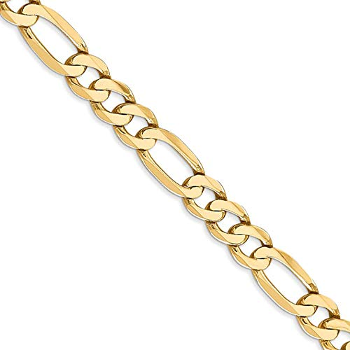 Men's 7mm, 14k Yellow Gold, Flat Figaro Chain Necklace, 22 Inch