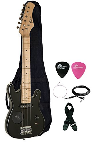 "Raptor 30"" Kids Child Starter Electric Guitar with Built-In Speaker with Gig Bag, Strap, Cable, Replacement Strings and RAPTOR Picks (BLACK)"