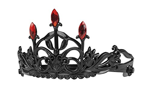Crown Halloween (Adults Halloween Black Ruby Crown Tiara Vampires Fancy Dress Accessory)