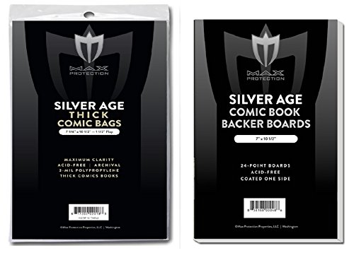Age Bag - (200) SILVER AGE THICK Size Ultra Clear Comic Book Bags and Boards - by Max Pro (Qty= 200 Bags and 200 Boards)