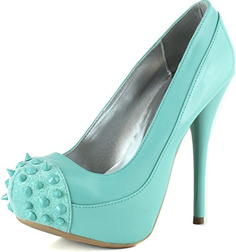 Women's Qupid Spiked Cap Round Toe Platform Pumps Glitter, Mint Pat Pu, size 7 US (Qupid Pumps)