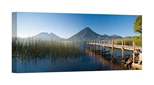(Easy Art Prints Panoramic Images's 'Jetty in a Lake, Lake Atitlan, San Marcos, Western Highlands, Guatemala' Canvas Art 20 x 8 )