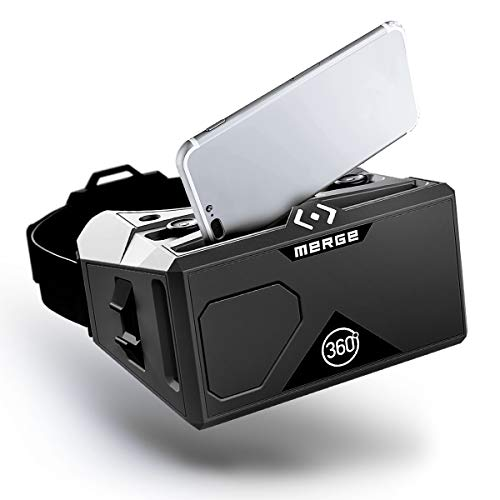 Merge AR/VR Headset - Augmented and Virtual Reality Goggles, STEM Product, 300+ Experiences, Works with iPhone or Android (Moon Grey)