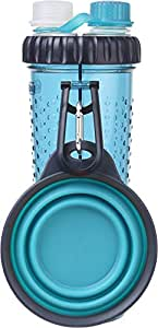 Dexas Popware For Pets H-DuO Dual Chambered Hydration Bottle with Collapsible Pet Cup, Blue