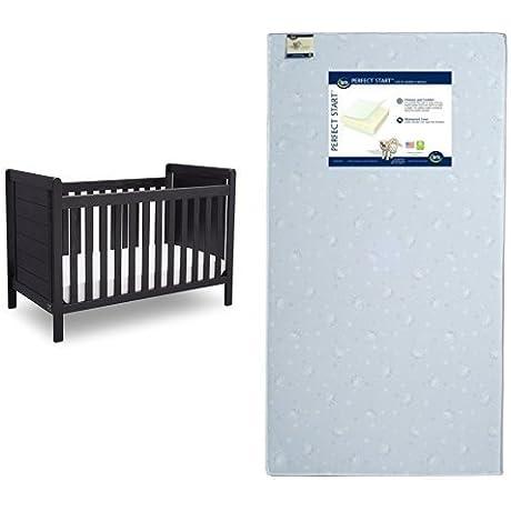 Serta Cali 4 In 1 Convertible Crib Rustic Ebony With Perfect Start Crib And Toddler Mattress