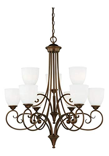 (Venetian Bronze Claret 9 Light Two Tier Chandelier with Etched Glass Shades - 30.75 Inches Wide )
