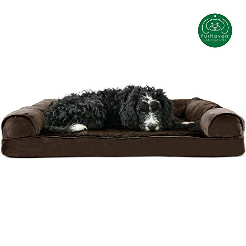 Furhaven Pet Dog Bed | Orthopedic Ultra Plush Faux Fur & Suede Sofa-Style Living Room Couch Pet Bed for Dogs & Cats, Espresso, Large