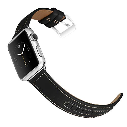 Mosstek Compatible with Apple Watch Band 42mm 38mm, Genuine Leather Bands Soft Leather Straps with Stainless Metal Clasp Compatible with Apple Watch Series 4 40mm 44mm Series 3 Series 2 Series 1