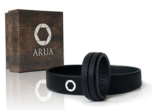 ARUA Silicone Wedding Ring for Men. Comfortable and Durable Rubber Wedding Band for Sports, Gym, Outdoors - 2mm thick - Silicone Wristband Included (Black, Size 13 (22.2 mm diameter))