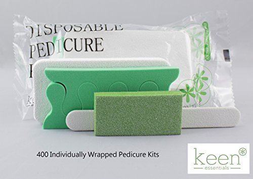 KEEN Disposable Pedicure Kits 400 KITS (4 item Kit-Packs) NAIL SALON Hy·giene Pack Disposable Manicure and Pedicure Nail Salon Supplies by KEEN ESSENTIALS