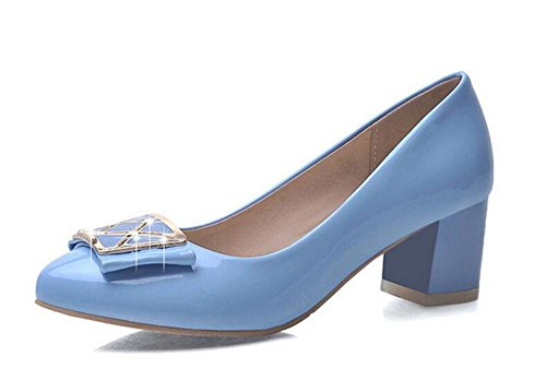 xie Boucle Métal personnalité mi avec Chaussures Talon Haut Talon Chaussures de Confort, Light Blue, 36