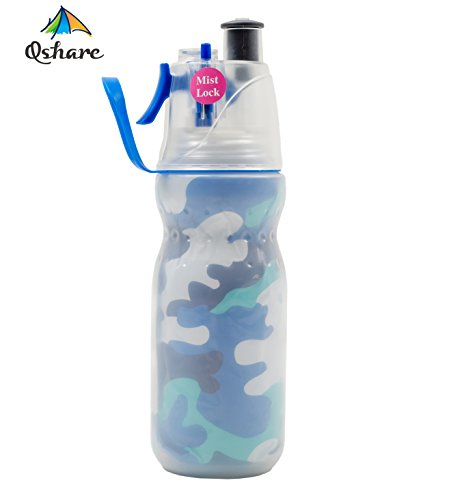 Qshare Misting Water Bottle, Double Wall Insulated Water Bottle with Spray Mist for Outdoor Sport Hydration and Cooling Down, FDA Approved BPA-Free Mist Water Bottle with Unique Mist Lock Design