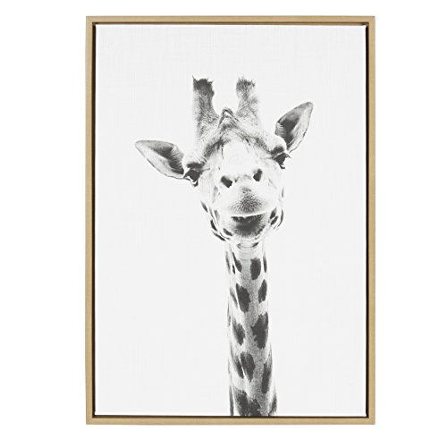 (Kate and Laurel Sylvie Giraffe Animal Print Black and White Portrait Framed Canvas Wall Art by Simon Te Tai, 23x33 Natural)
