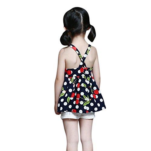 Tops Bambine Shorts Dress Maniche Spiaggia Scuro In Set Blu Indossare Weixinbuy Di Abiti Cotone Gilet S181wq