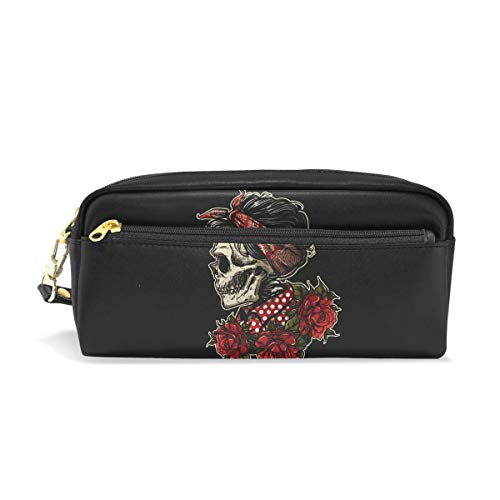 hengpai Sugarskull Girl with ROS Pencil case Cosmetic Makeup Bag Student Pen Pouch ()