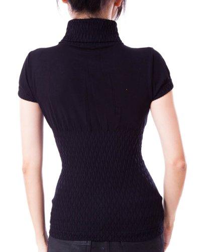 Brand Shop Fine, colore: nero senza cuciture, a maniche corte, colletto Dolcevita, motivo con diamante